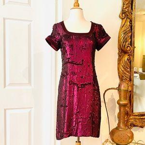 BADGLEY MISCHKA  MATTE SEQUINED DRESS